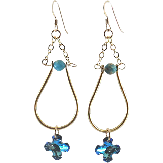 Designs by Ali Gold Plated Pendant with Aqua Blue Impression Jasper and Bermuda Blue Swarovski Earrings