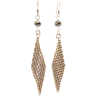 Designs by Ali Matte Gold Plated Brass Chain and Black Diamond Crystal with Gold Stripe Earrings