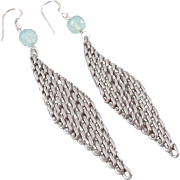 Designs by Ali Antiqued Silver Plated Brass Chain and Aqua Blue Chalcedony Earrings