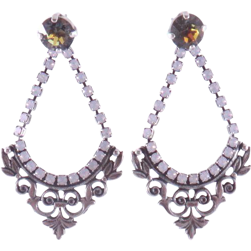 Designs by Ali Antiqued Silver Plated with Rose Opal Golden Sahara Swarovski Earrings