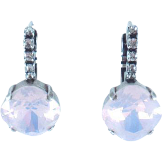 Designs by Ali Antiqued Silver Plated Drop w/ Crystal and Rose Water Opal Swarovski Earrings