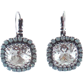Designs by Ali Antiqued Silver Plated Base with Pacific Opal Swarovski and Silver Shade Swarovski Earrings