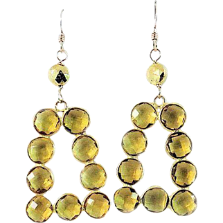 Designs by Ali Citrine Gemstone and Gold Plated with Pyrite Earrings