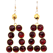 Designs by Ali Garnet Gemstone and Gold Plated with Pyrite Earrings