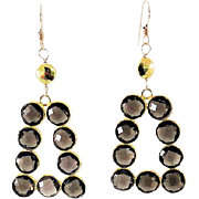 Designs by Ali Smoky Quartz Gemstone and Gold Plated with Pyrite Earrings