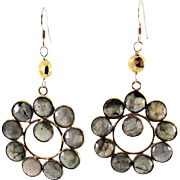 Designs by Ali Labradorite Gemstone and Gold Plated with Pyrite Earrings