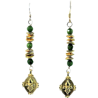 Designs by Ali Lucite Green Green Glass and Gold Plated Fleur De Lis Charm Earrings