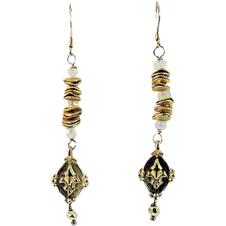 Designs by Ali Moonstone and Gold Plated Fleur De Lis Charm Earrings