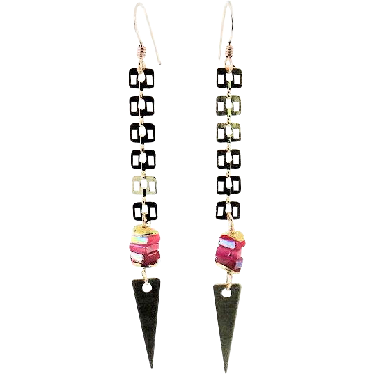 Designs by Ali Glossy Gold Plated with Hot Pink Dyed Jade and Raw Brass Charm Earrings