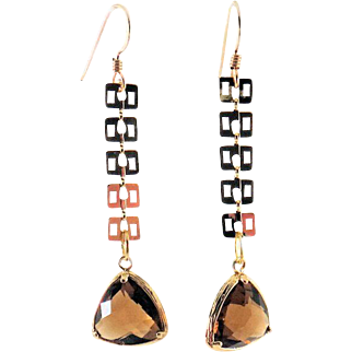 Designs by Ali Glossy Gold Plated with Triangle Smoked Topaz Glass Earrings