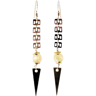Designs by Ali Glossy Gold Plated with Champagne Quartz and Raw Brass Charm Earrings
