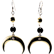 Designs by Ali Raw Brass with Pyrite, Moonstone and Gold Plated Pendant Earrings