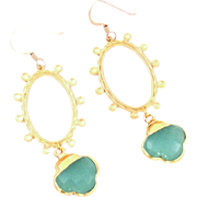 Designs by Ali Matte Gold Plated Over Brass Frame and 24K Gold Electroplated with Aqua Chalcedony Earrings