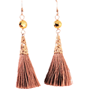 Designs by Ali Gold Plated and Brown Silk and Golden Pyrite Earrings