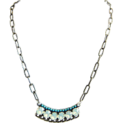 Designs by Ali Antique Silver Plated Brass Chain & Turquoise Rhinestone and White Opal Swarovski Pendant Necklace