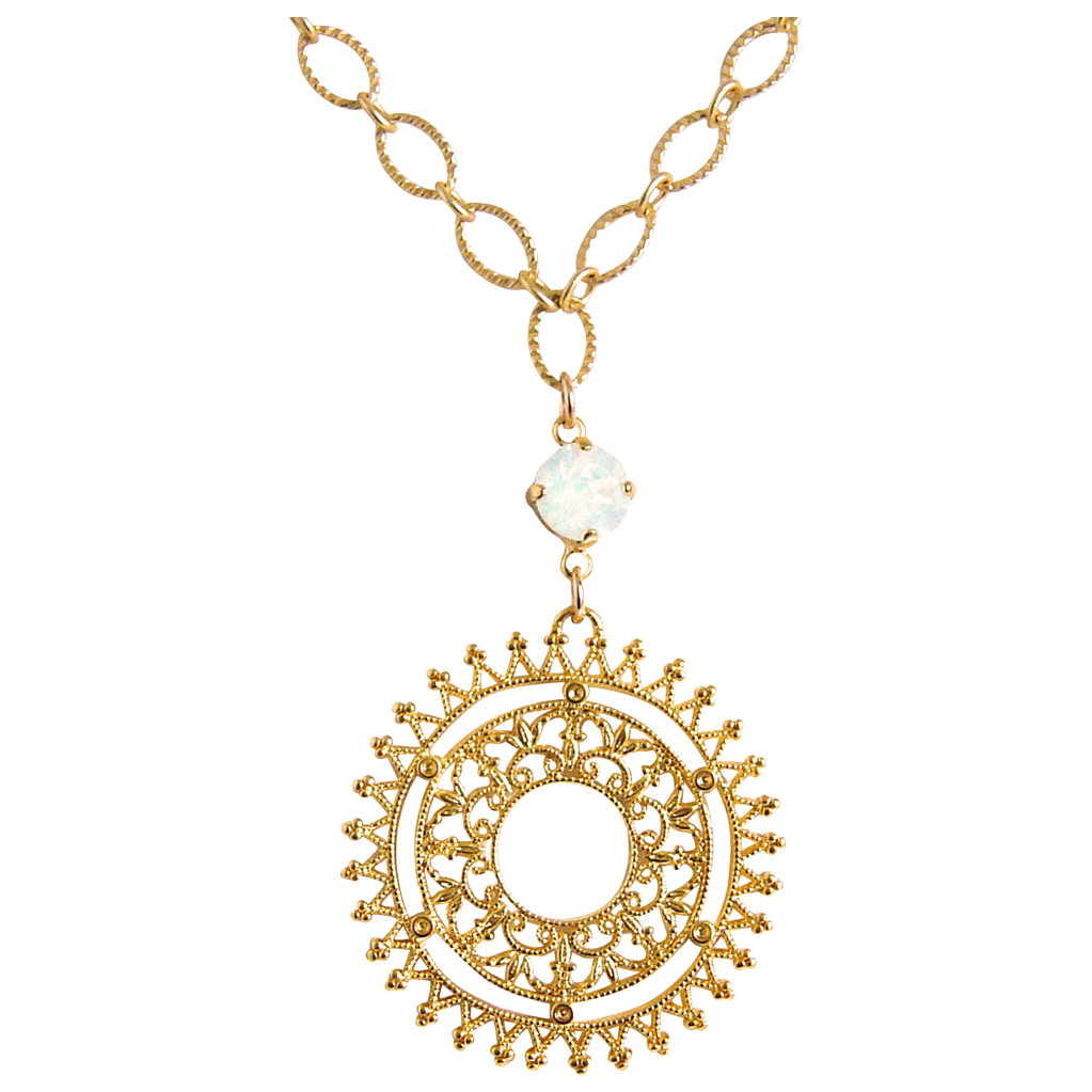 Designs by Ali Matte Gold Plated Chain and Spiky Filigree Pendant with White Opal Swarovski Necklace