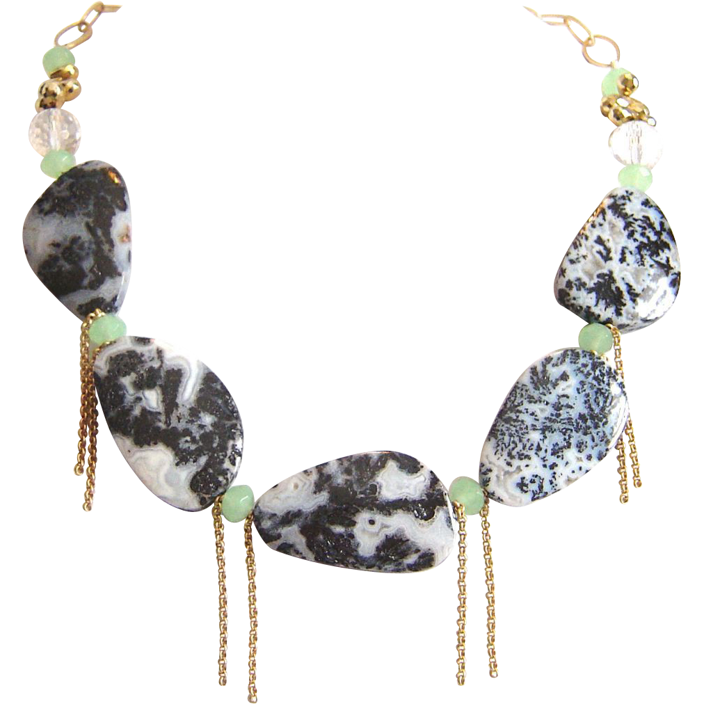 Designs by Ali Matte Gold Plated Chain with Aqua Chalcedony, Pyrite and Plume Agate Necklace