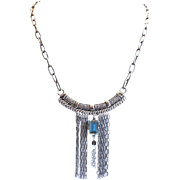 Designs by Ali Oxidized Silver Tone Base Metal with Montana Swarovski Necklace