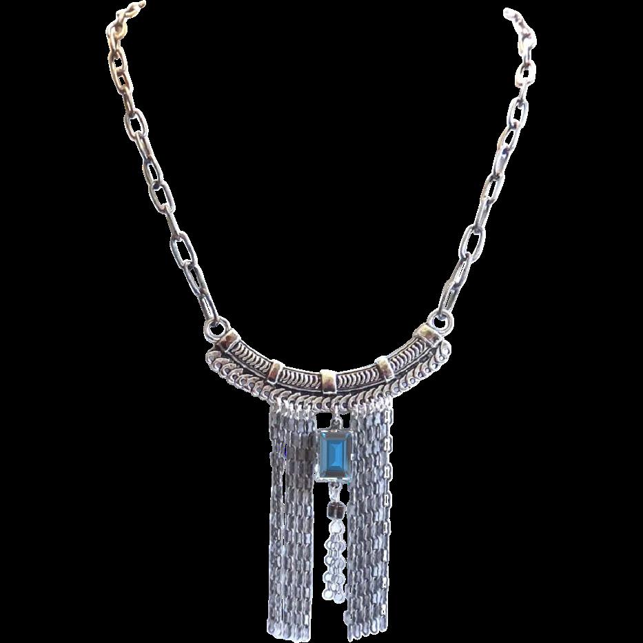 Designs by Ali Oxidized Silver Tone Base Metal with Montana Swarovski Necklace