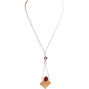 Designs by Ali Matte Gold Plated Chain with Paradise Shine Swarovski and Ruby Red Color Jade Necklace