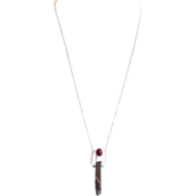 Designs by Ali Antique Silver Plated Circle Chain with Sterling Silver, Ruby Red Color Jade and Shiny Metallic Quartz Necklace