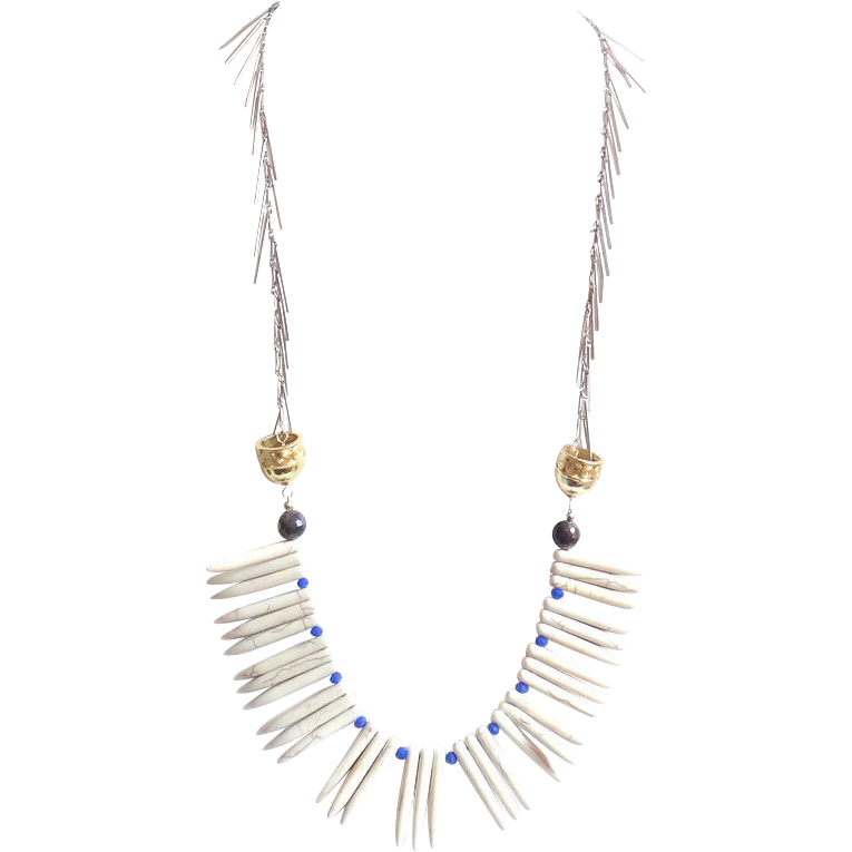 Designs by Ali Antique Silver Plated Chain with Labradorite, Blue Lapis Glass and White Magnesite Necklace