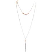 Designs by Ali Silver Plated Brass Chain with Pyrite, Almond Quartz, Cream Pearl and Metal Bar Pendant Necklace