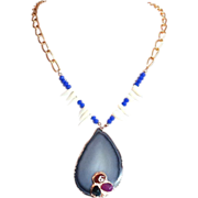 Designs by Ali Matte Gold Plated Brass with Lapis Blue Glass, Natural White Coral and Black Agate Druzzy Necklace