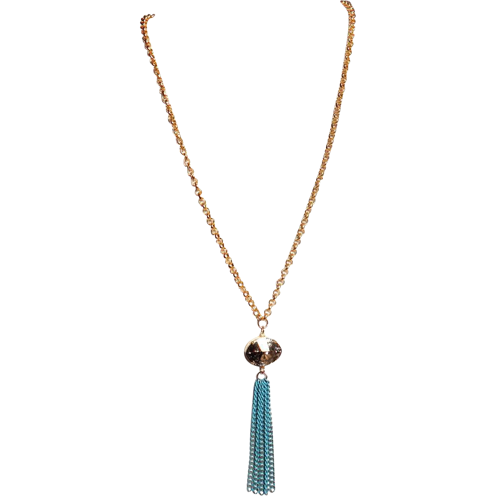 Designs by Ali Matte Gold Plated Chain with Gold Patina Swarovski & Turquoise & Gold Plated Chain Necklace