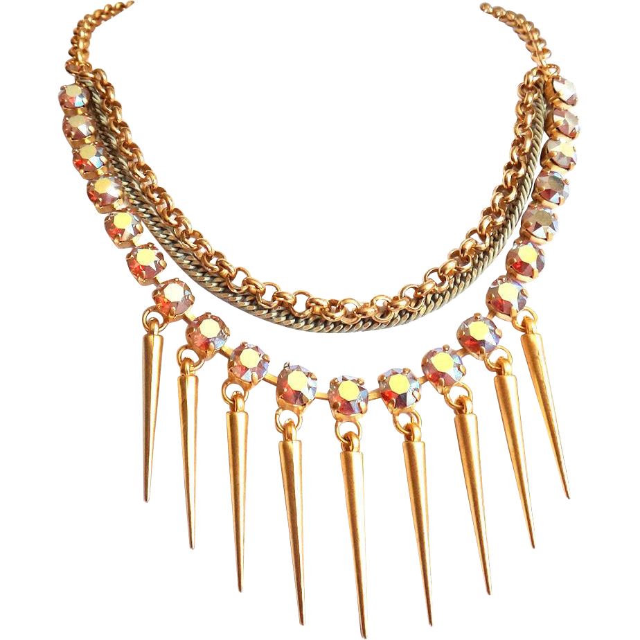 Designs by Ali Matte Gold Plated Brass with Sand Opal AB Swarovski Necklace