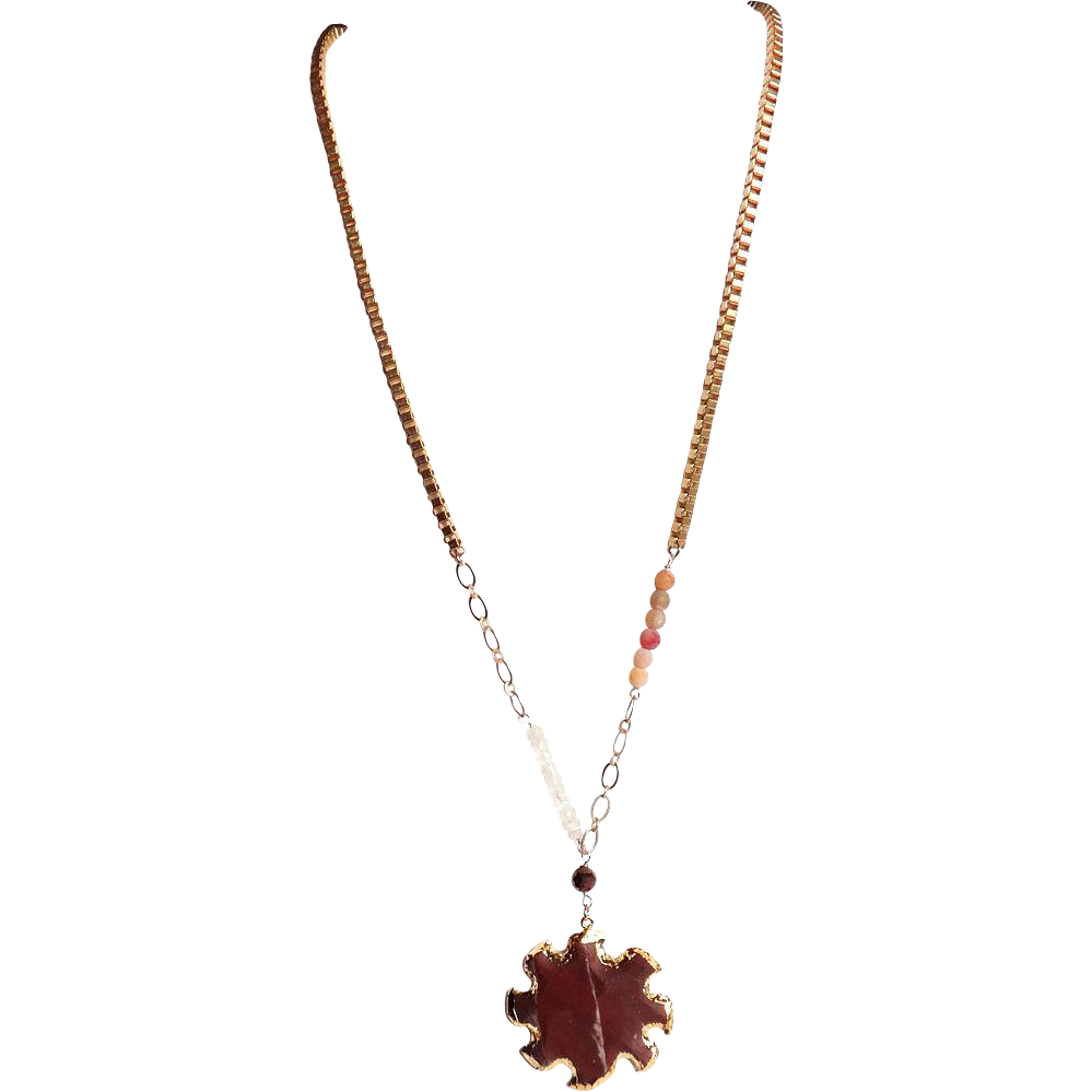 Designs by Ali Matte Gold Plated Brass Chain with Moonstone, Warm Neutral Agate and Jasper Sun Pendant Necklace