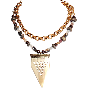 Designs by Ali Double Strand Matte Gold Plated Brass with Agate, Moonstone Necklace