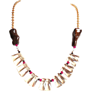 Designs by Ali Gold Plated Brass Chain with Tiger Iron Jasper, Hot Pink Glass and Light Champagne Quartz Necklace