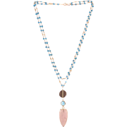 Designs by Ali Turquoise and Pyrite Chain with Rose Quartz Necklace