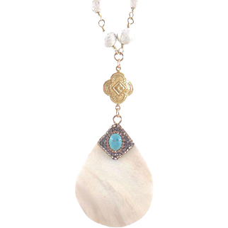 Designs by Ali Matte Gold Plated with White Turquoise Rosary and Shell Pendant Necklace