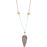 Designs by Ali Matte Gold Plated and Aqua Blue Chalcedony with Natural Jasper Necklace