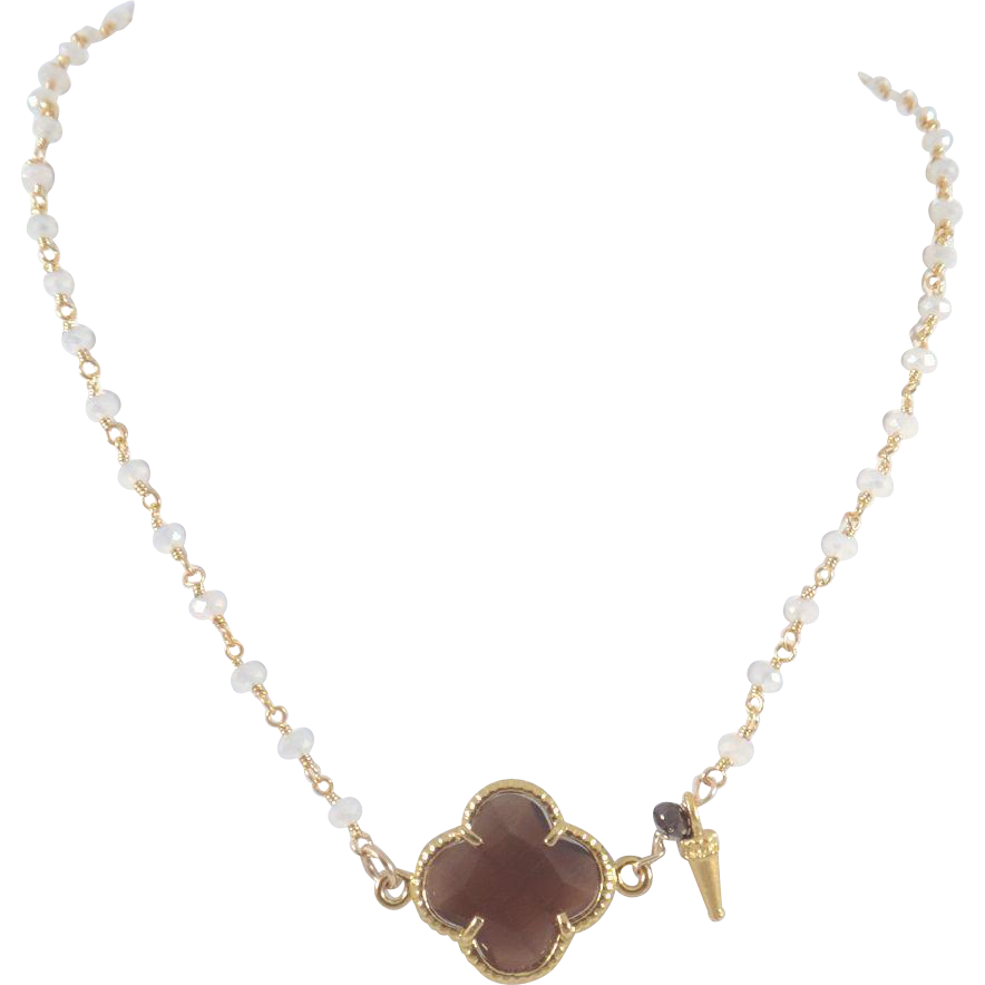 Designs by Ali Moonstone Chain w/ Brown Quartz Necklace