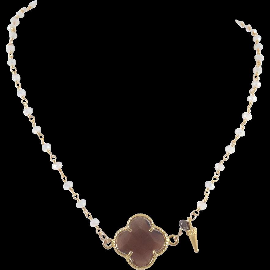 Designs by Ali Moonstone Chain w/ Brown Quartz Necklace