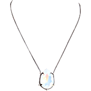 Designs by Ali Antiqued Silver Plated Chain and White Opal Swarovski Necklace