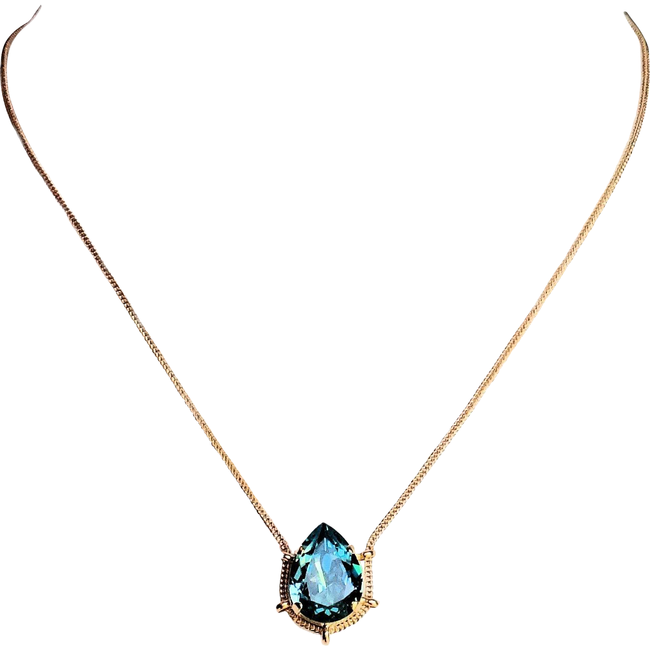 Designs by Ali Matte Gold Plated Brass Chain and Light Turquoise Swarovski Necklace