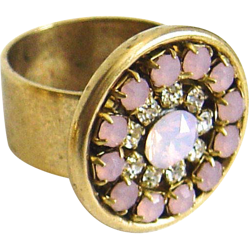 Designs by Ali Antique Gold Plated Brass with Czech and Pink Opal Rhinestone with Rose Opal Swarovski Ring