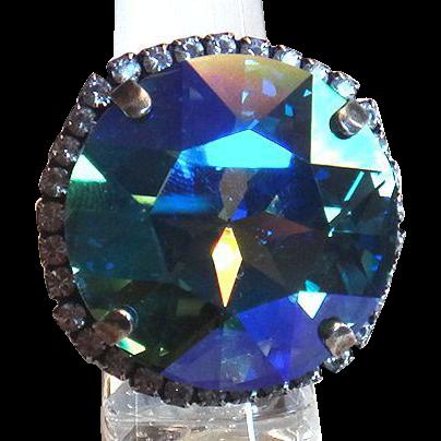 Designs by Ali Antique Silver Plated Brass with Crystal Swarovski and Aqua Glacier Blue Swarovski Ring
