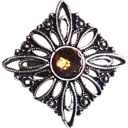 Designs by Ali Antique Silver with Smoked Topaz Swarovski Ring