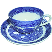 Blue Willow Cup & Saucer, Allerton's Eng.