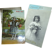 Vintage French postcards, Bonne Fete!