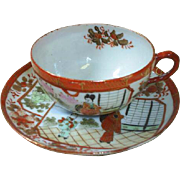 Vintage Asian cups and saucers (2), hand painted scenes