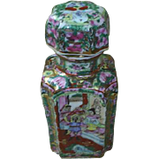 Asian pottery condiment jar, hand painted and enameled.