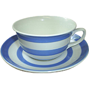 Cornish Ware blue/white cup & saucer, vintage England!  **FREE POSTAGE in the U.S.!!