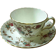 "Minton floral cup & saucer, ""Ancestral"""