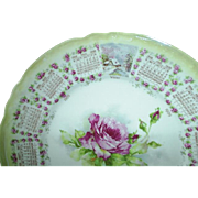 1909 Calendar plate, roses, Bombay, Minnesota
